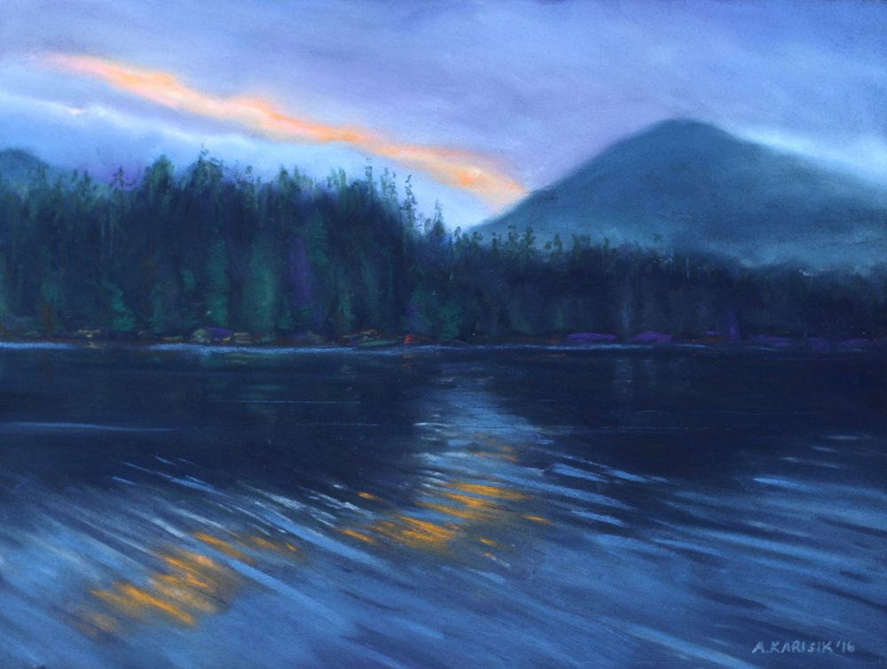 "ANJA KARISIK, ""NEARING MIDNIGHT (BURNABY STRAIT, GWAII HAANAS), PASTEL ON BOARD, 12"" x 16"", 2016"
