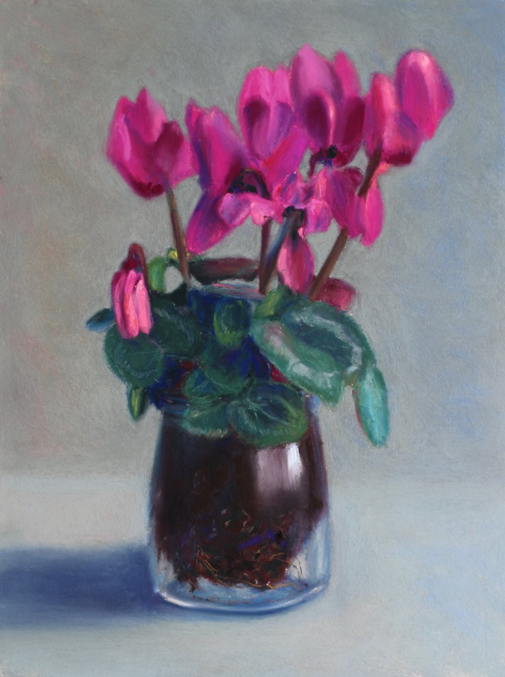 """Cyclamen"" - pastel on board - 12"" x 9""  • Sold"
