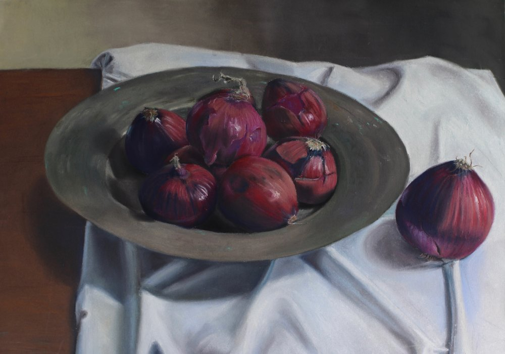 """Onions on Bosnian Plate"" - pastel on paper - 18.5"" x 26.5""  available"