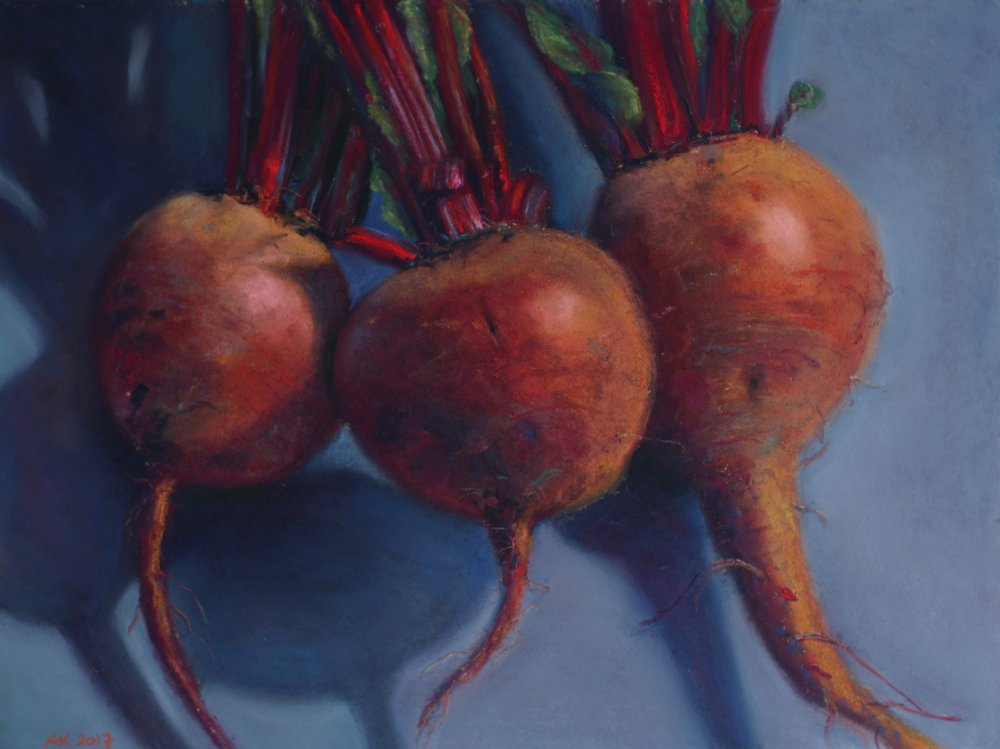 """King Beets"", pastel on paper, 12"" x 16""  available"