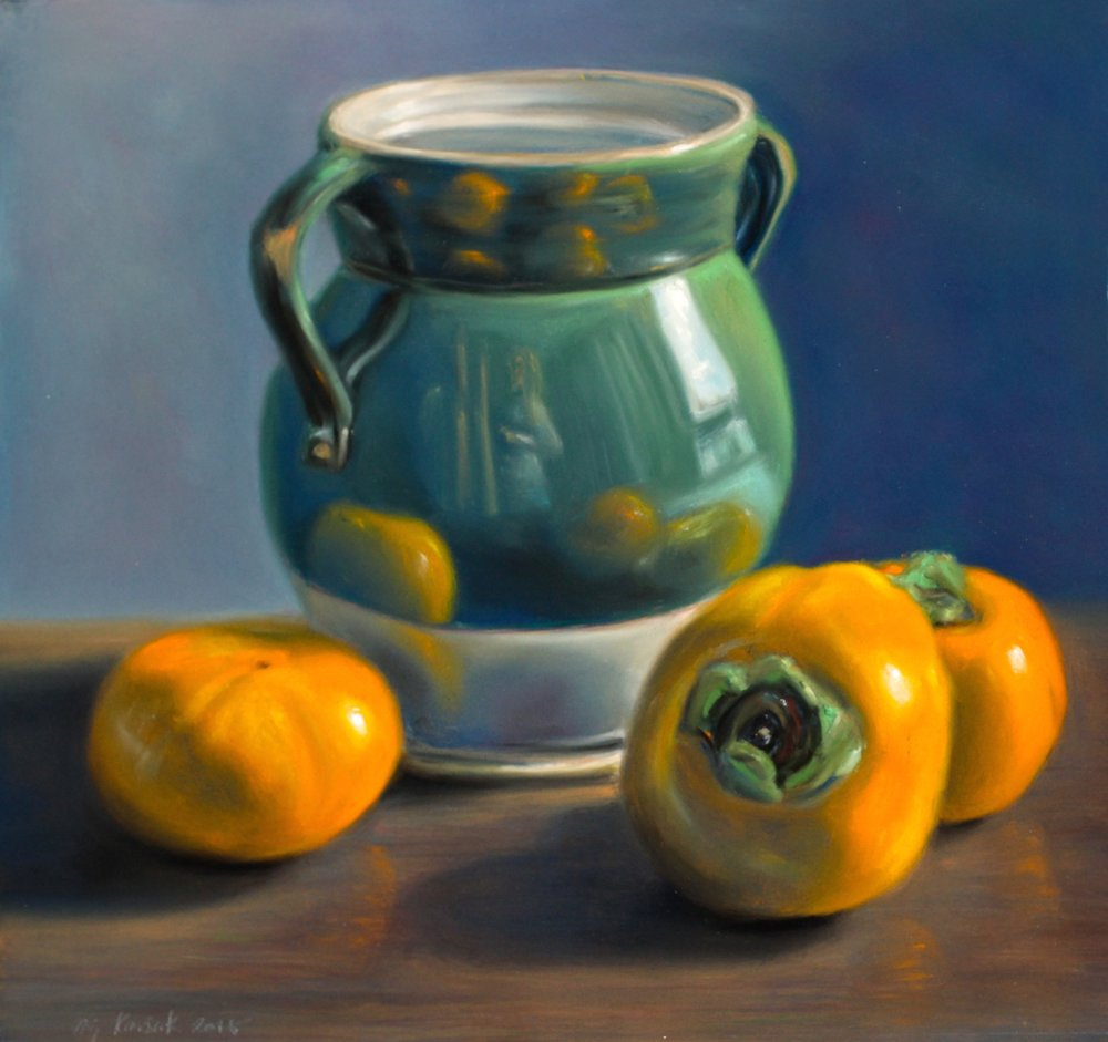 """Persimmons in Perspective"", pastel on board, 16"" x 17""  • Sold"