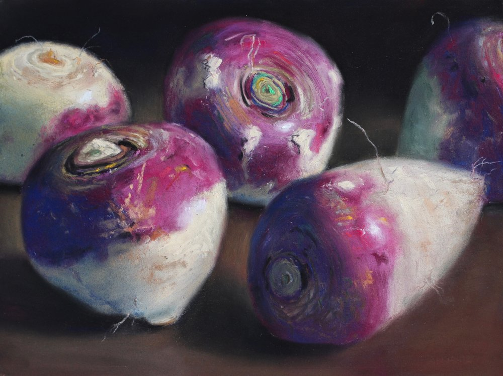 """Turnip closeup"", pastel on board, 9"" x 12""  • Sold"