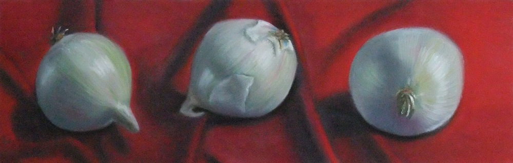 """White on Red"", pastel on paper, 10"" x 30"""