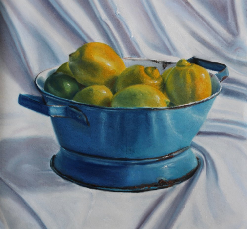 """Lemons in Colander"" - pastel on paper - 18"" x 20""  • Sold"