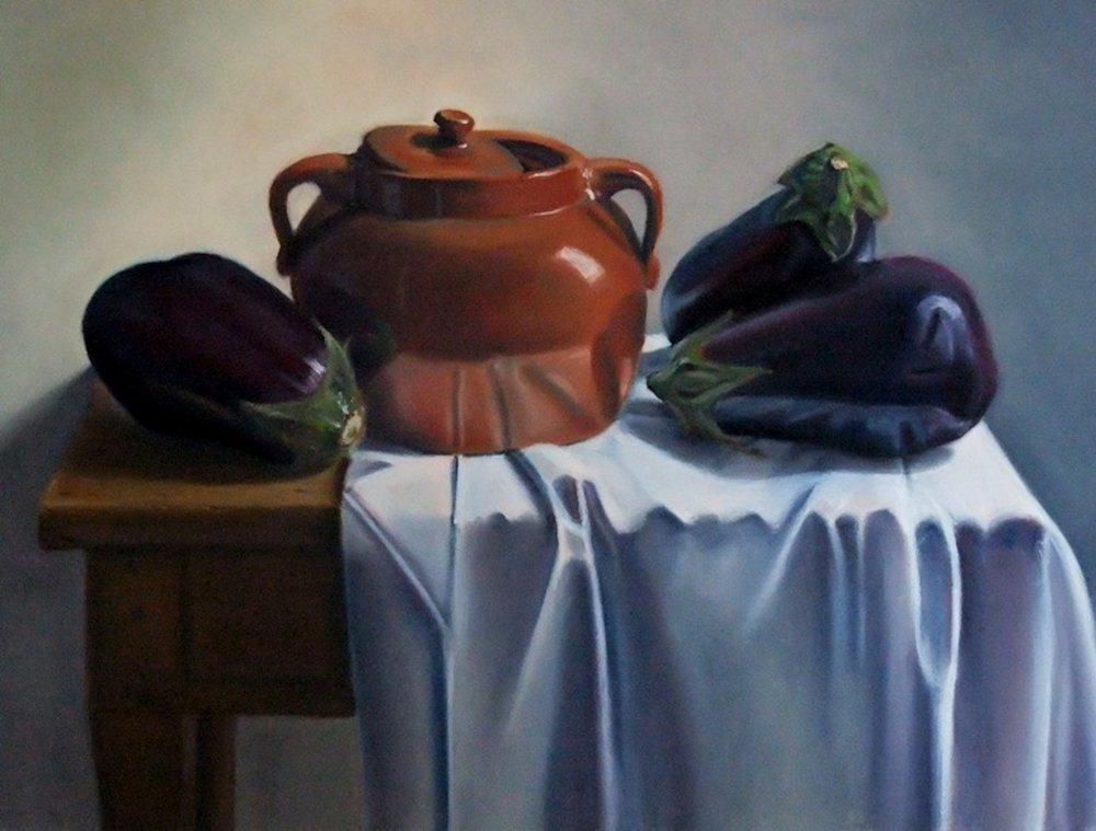 """Aubergines in Perspective"", pastel on paper 18.5"" x 26.5""  available"