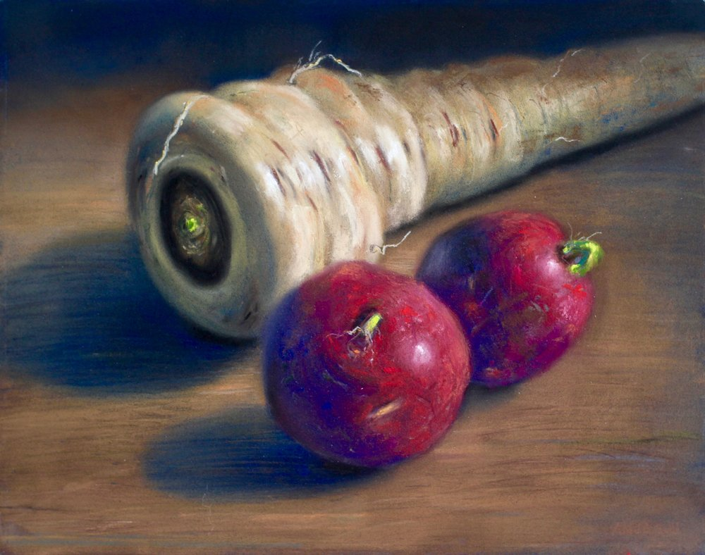 """Three's Company"", pastel on board, 11"" x 14""  available"