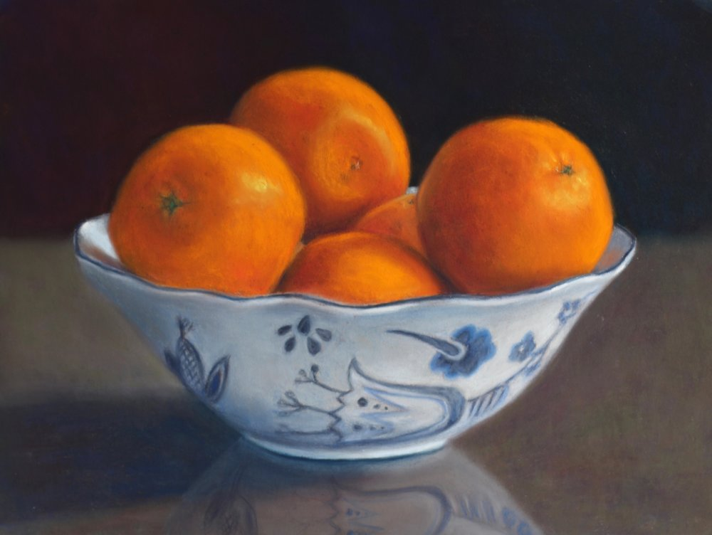 """Oranges in Delftware"", pastel on paper, 12"" x 16""  • Sold"