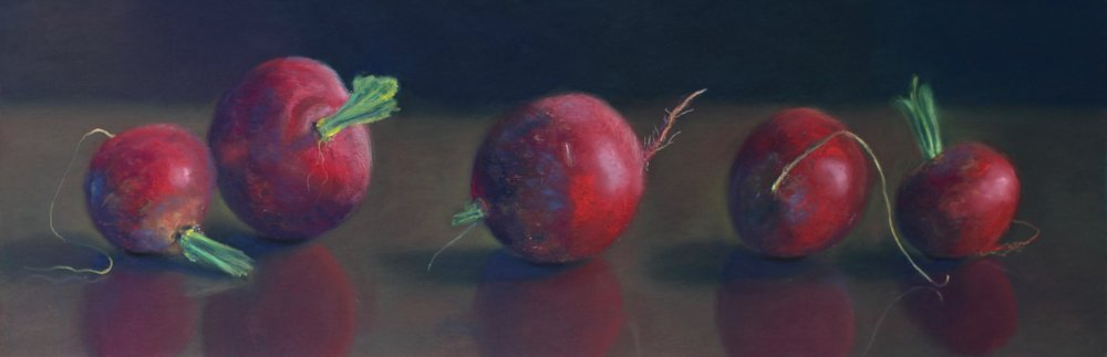"""Radish Rhythm"", pastel on paper, 8"" x 24""  • Sold"
