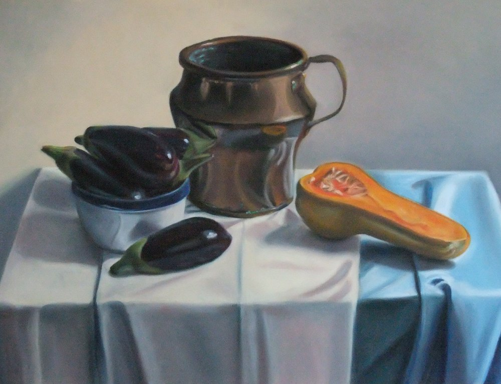 """Still Life with Copper Pot"", pastel on paper, 19"" x 24""  available"