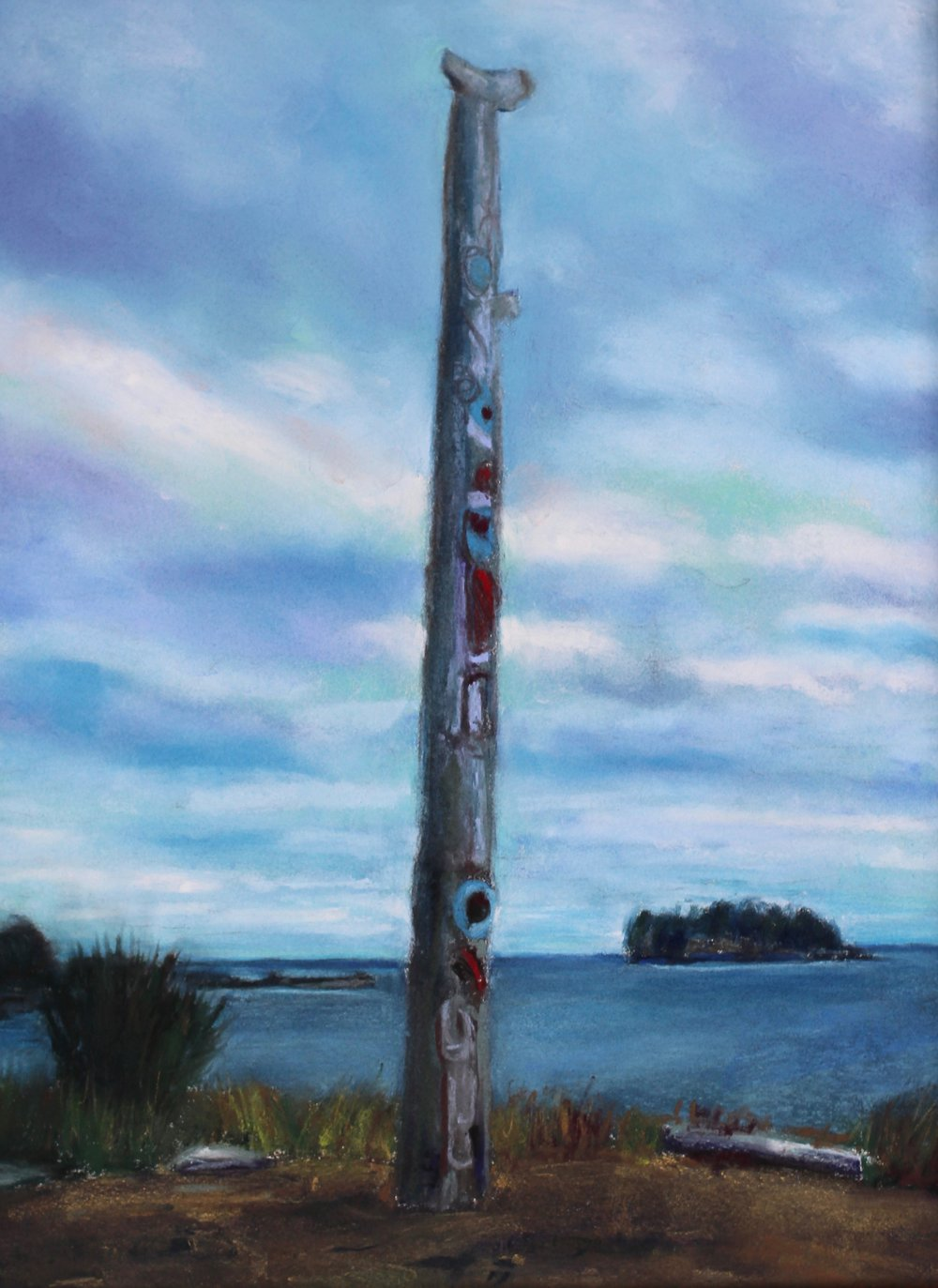 Pole at K'aay Llnagaay, Haida Gwaii