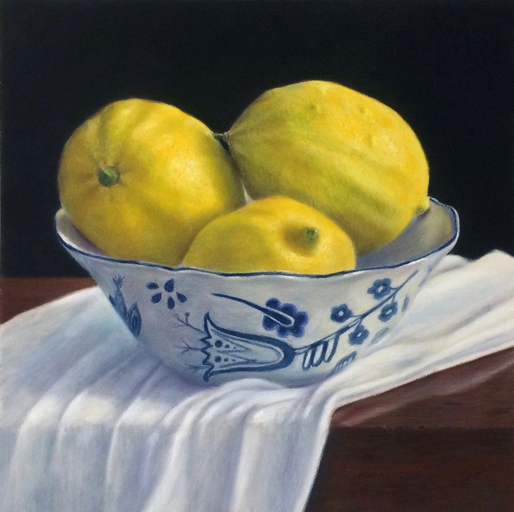 """Lemons in Delftware"" - pastel on paper - 30"" x 30""  Sold"