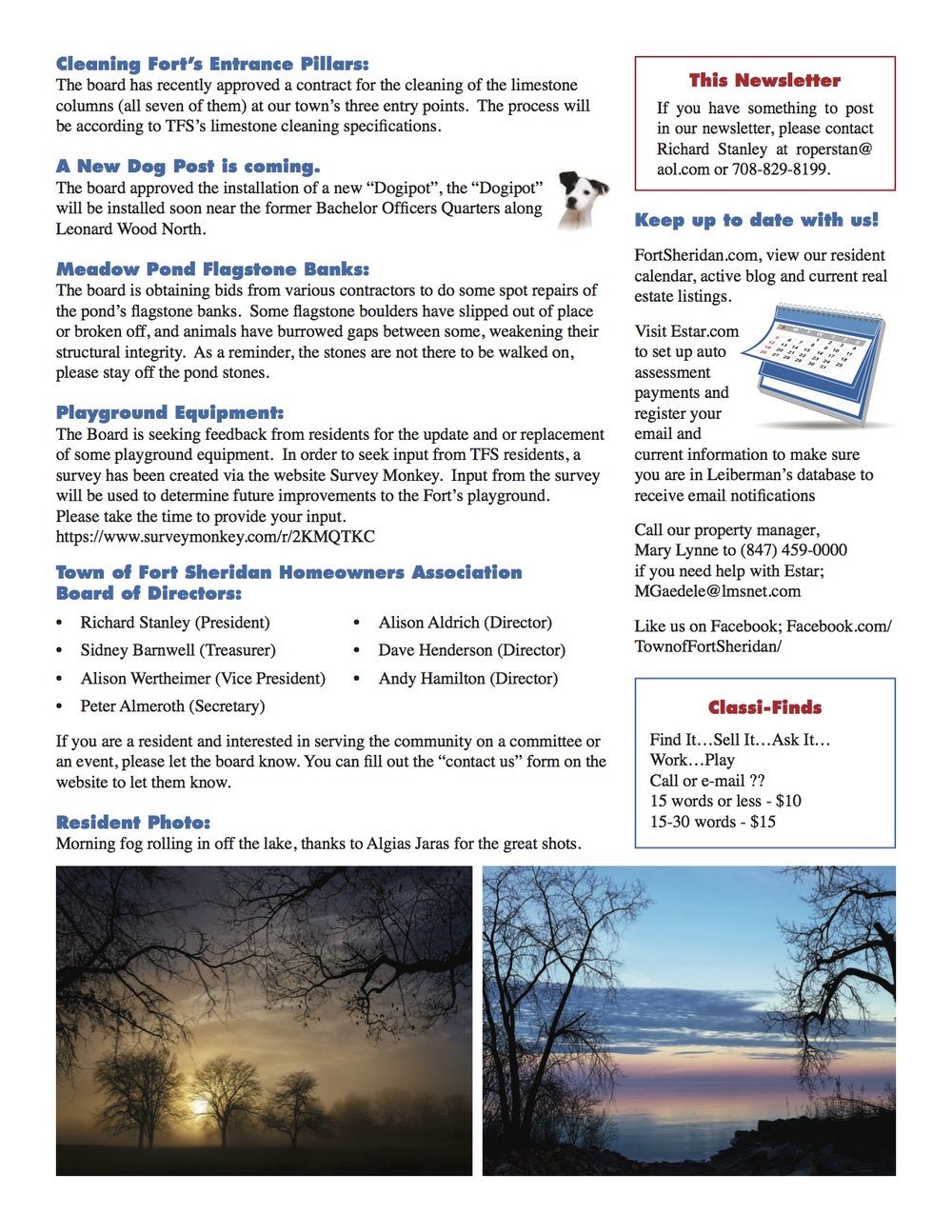 Fort Sheridan March 2017 Newsletter - Page 3