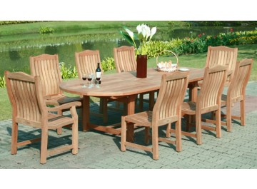 Image shows oval table extending from 2.4 to 2.7 to 3.0m.  With 6 diner chairs and 2 armchairs price £2699.99