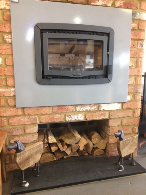 Charnwood Bay 5, Green, with Vlaze surround, as displayed in our showroom