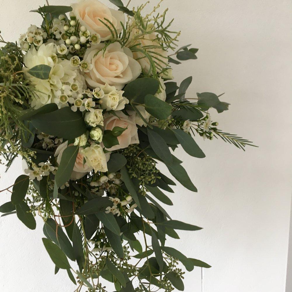Blush cascading wedding bouquet