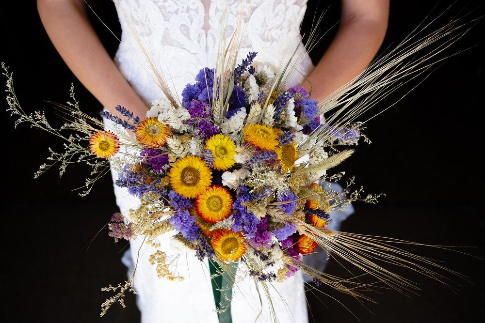 Dried wedding flower bouquet