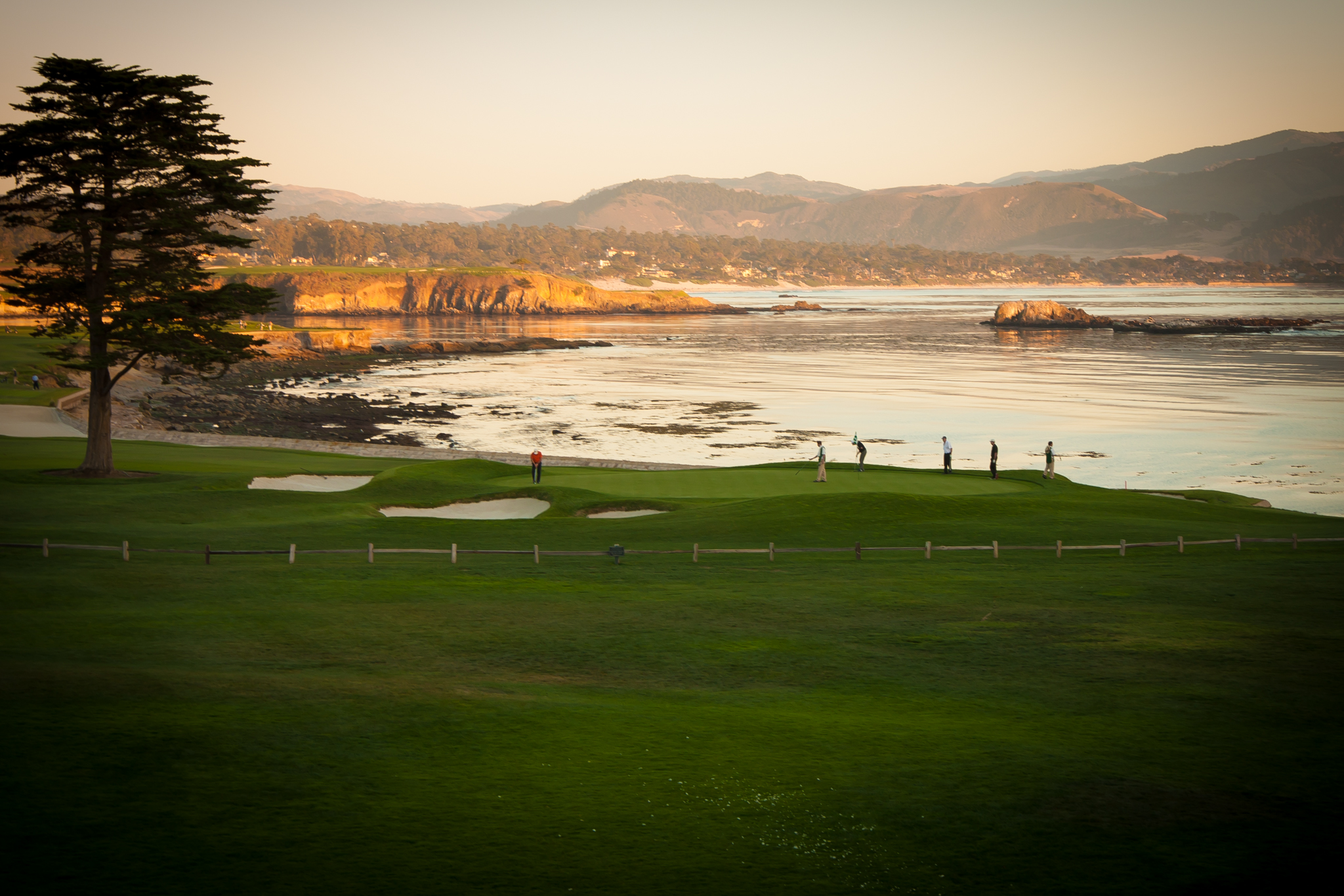 This is the 18th hole by the clubhouse at pebble beach. The golf course is as photographic as the drive!