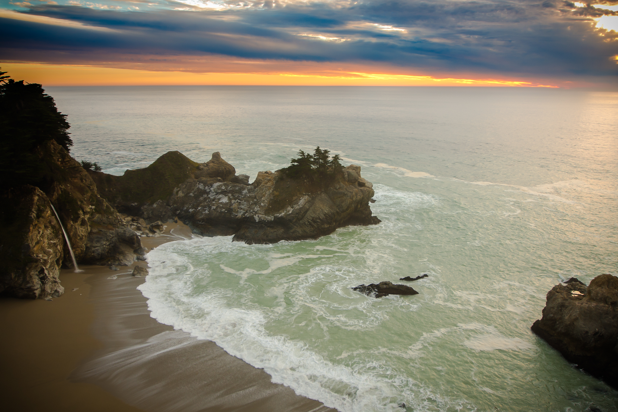 McWay falls is one of the primary attractions on the california coast and Big Sur. this image was made at sunset.