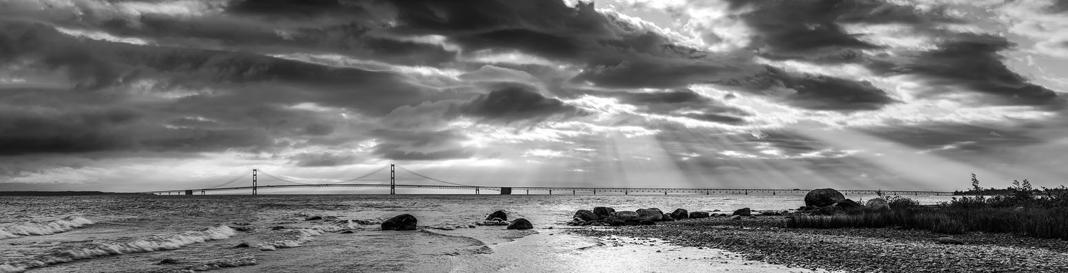 This was a 7 image panorama stiched together in photoshop. The scene was overall grey and muddy looking so I converted it to B&W for a better image.