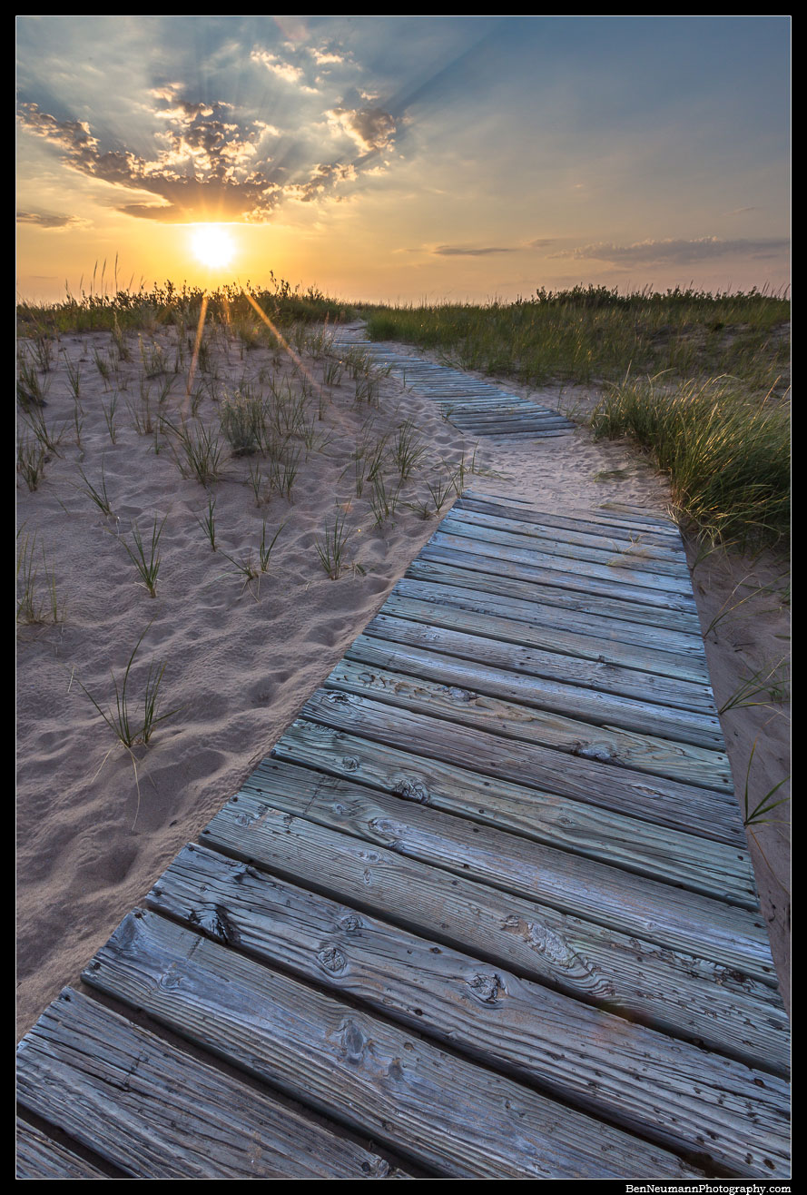 A boardwalk That leads to the beach on the Sleeping Bear Dunes National Lakeshore.