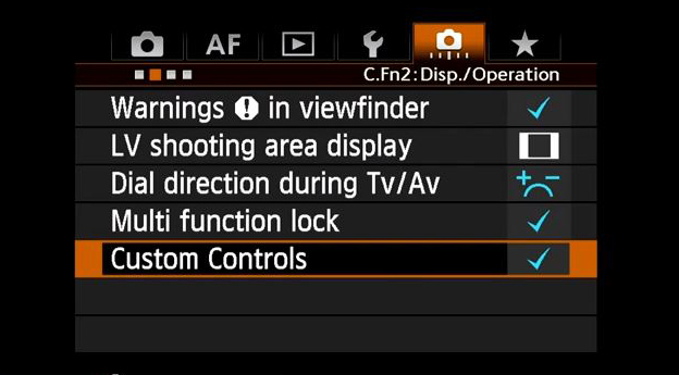 Custom Control for canon 5d III