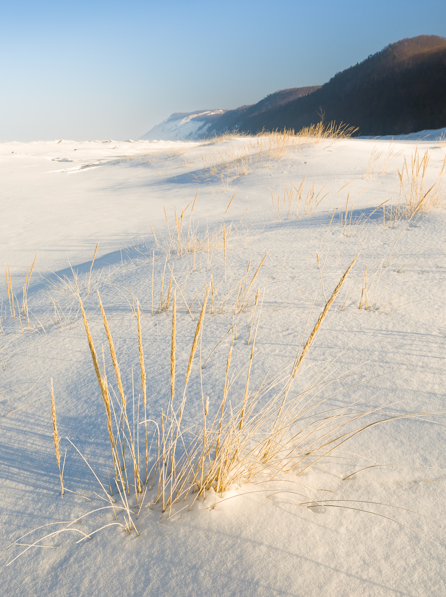 Ice, snow, cold, and a frozen lake michigan are just some of the potential dangers in this landscape.