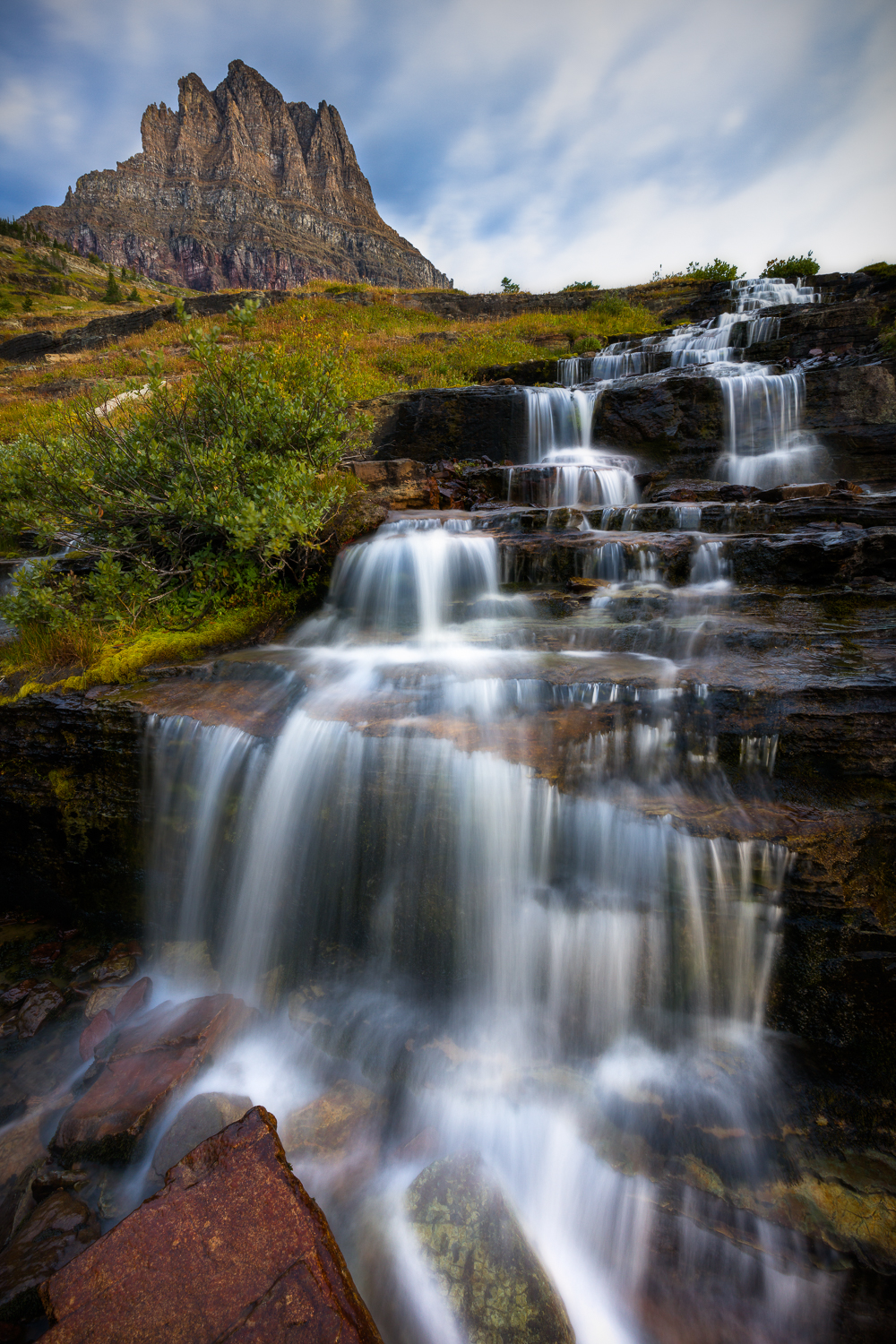 Glacier national park waterfall logan pass