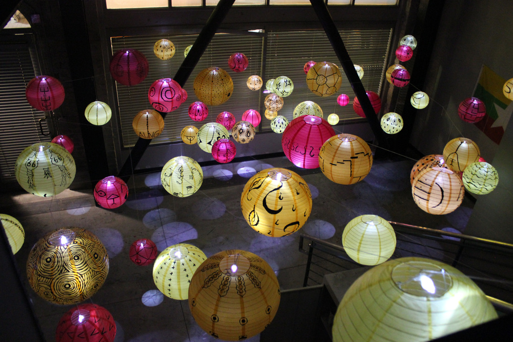 We install hand-painted lanterns for Myanmar's independence day (Jan 4) and give them away for free.
