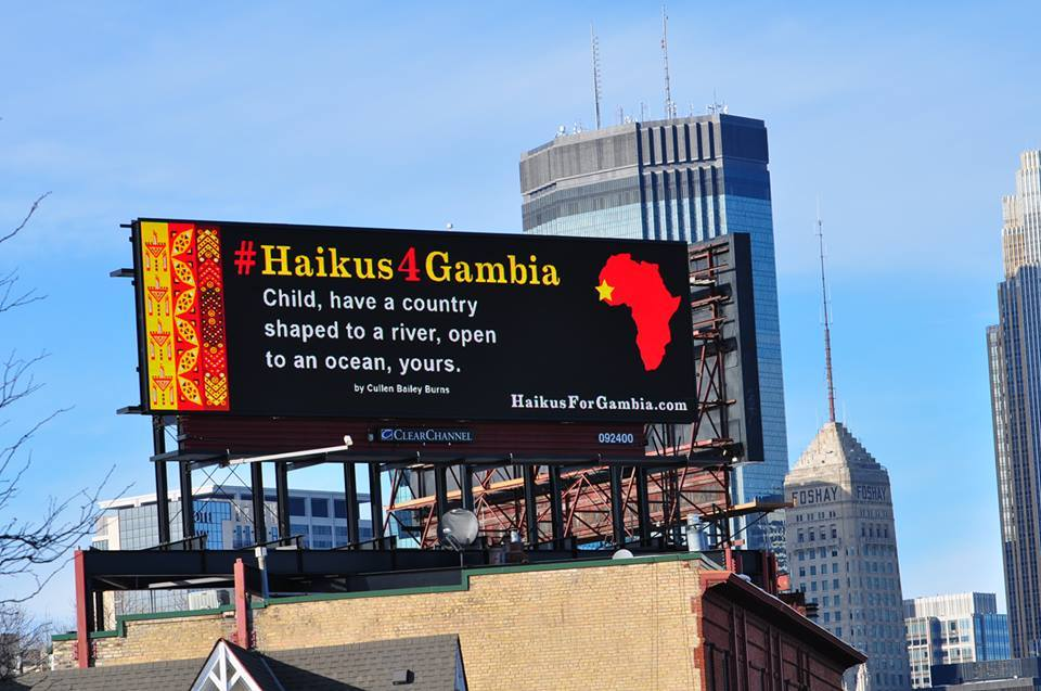 IBé finds 49 poets to write 49 haikus inspired by Gambia. He then scrolls them though billboards in Minneapolis on Gambia's 49th independence day (Feb 18).