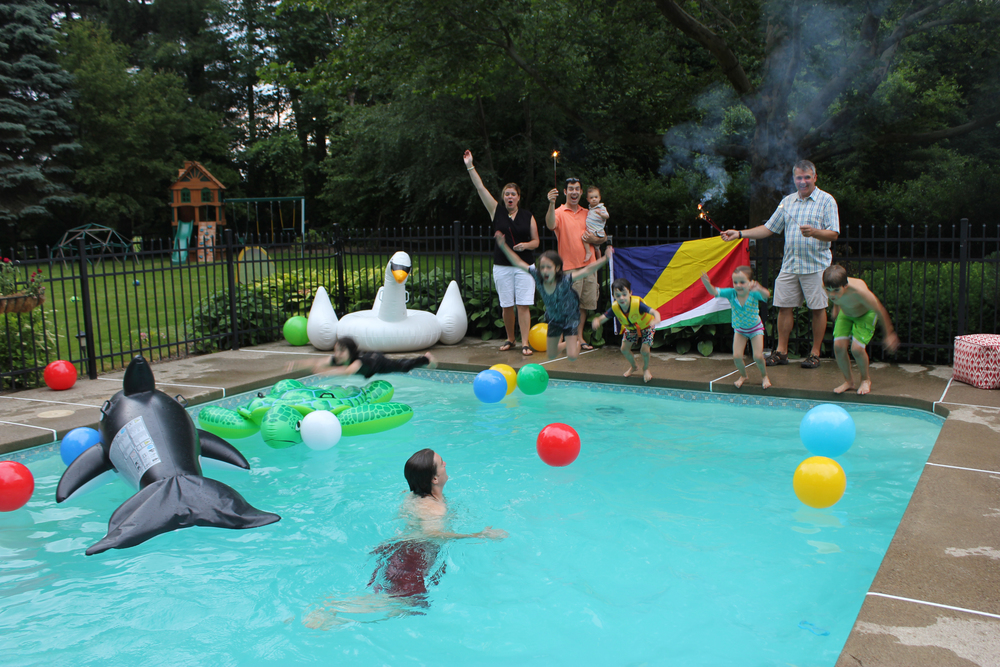 The Cunniffe Family and friends celebrate the independence day of the Seychelles (June 29) with a pool party and traditional food in Rochester, New York (USA).
