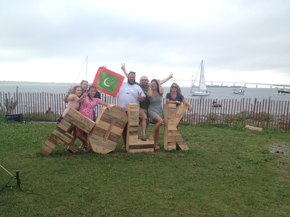 Friends from Long Island (USA) celebrate the independence day of the Maldives (July 22) at the Newport Folk Festival.