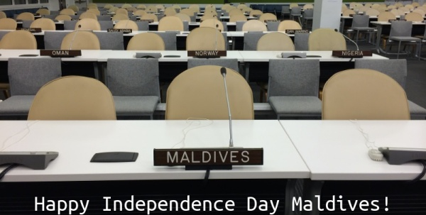 Beauty Baco honors the people of the Malives Islands on their independence day (July 22) by visiting the country's seat at the United Nations in New York City (USA).