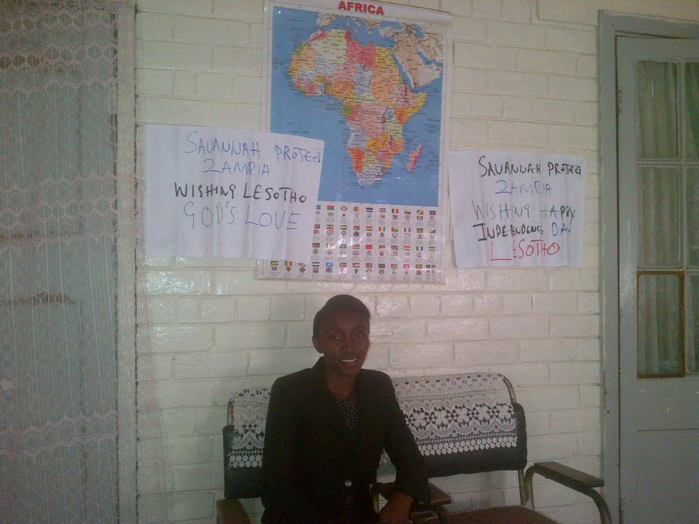 Ms. Chitalu Musonda and the Savannah Project in Zambia organized a special celebration to teach about Lesotho on Lesotho's independence day.
