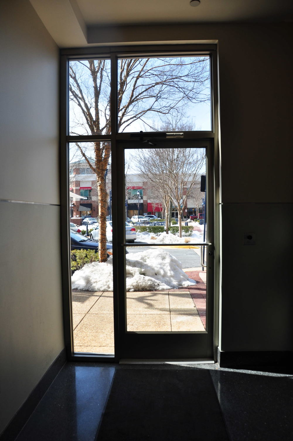 Exterior storefront door, sidelite and transom