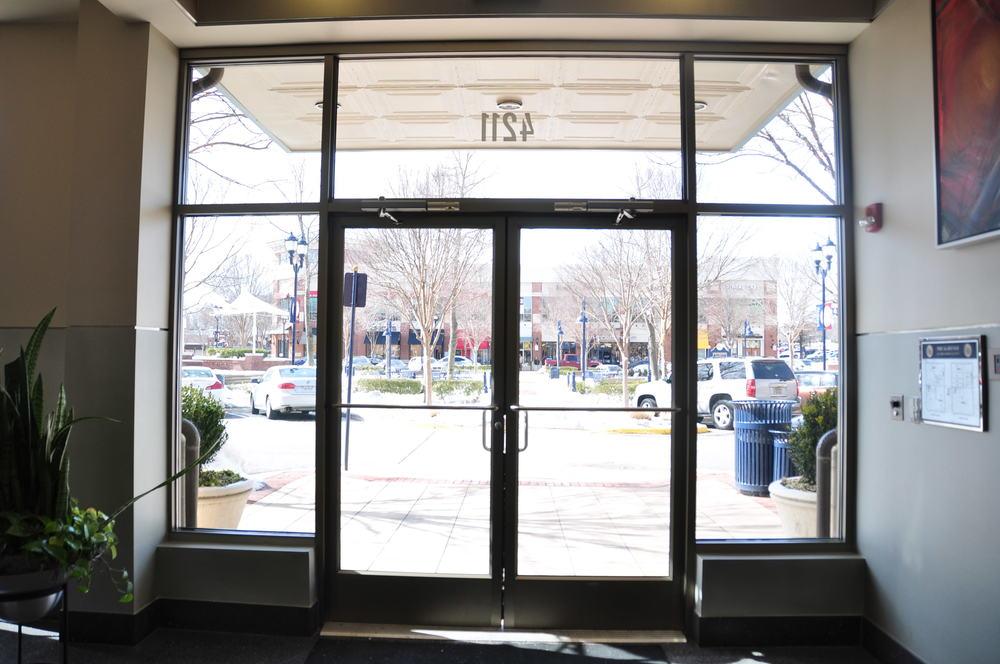 Exterior storefront doors, sidelites and transom