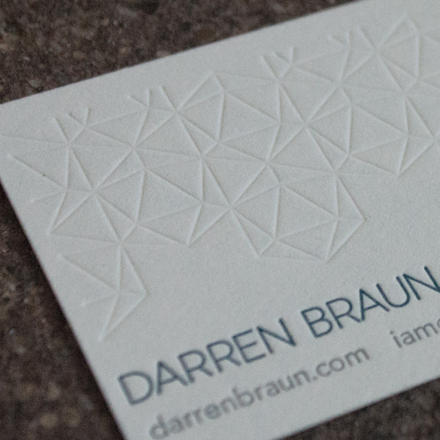 Branding, design and custom letterpress printing. Specs: Crane Lettra 110#C. Two color plus blind emboss.