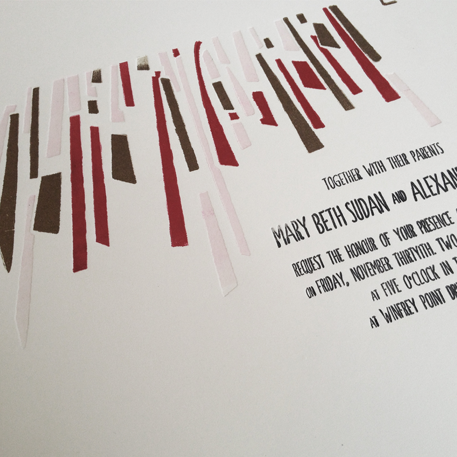Wedding Invitation design and custom letterpress printing client work. Specs: Crane Lettra 110#C