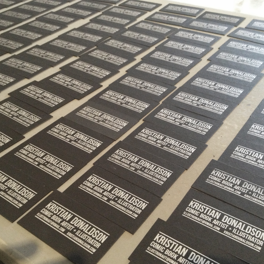 Design and letterpress printing client work. Specs: Silver metallic ink on black art board.