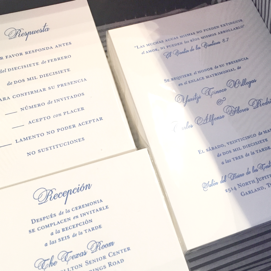 Wedding invitation design and custom letterpress printing. Specs: Crane Lettra 110#C