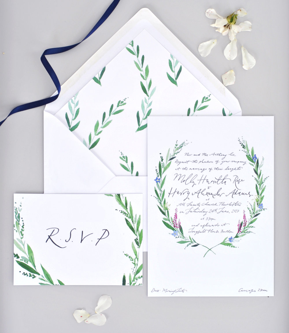From Hand Illustrated Wedding Invitations Printed On Beautifully Thick Paper Stock To Personalised Rsvp Cards Maps And Menus My Bespoke Wedding Stationery