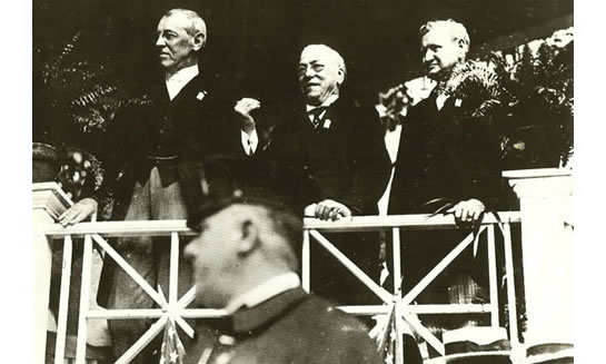 President Woodrow Wilson (left) with American Federation of Labor President Samuel Gompers (center), and Labor Secretary William B. Wilson at an undated Labor Day rally.