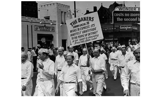 Members of the Bakers Union Local 78 march in the Detroit, Mich., Labor Day parade. Date unknown, likely 1950s or 60s.