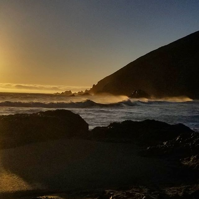 """Oh isnt it strange, how we move our lives for another day...what if a great wave should wash us all away?"" Moments before a great wave actually washed my beach chair into the ocean. #pfeifferbeach #sunset #bigsur #onesweetworld #letussleepoutsidetonight #bucketlist #feelingsmall #feelingalive"