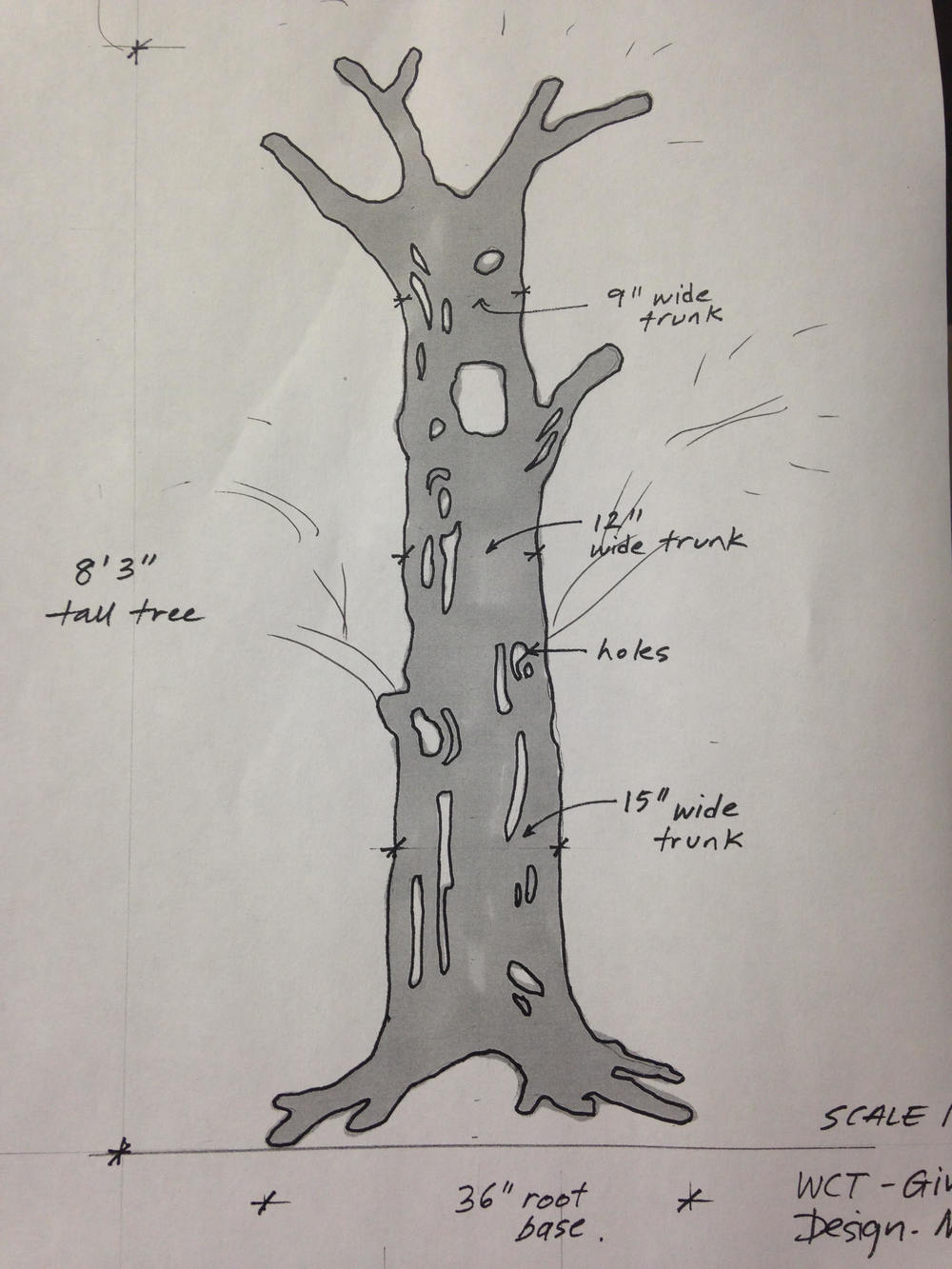 Schematic of our Giving Tree Trunk by artist and WCT collaborator Melissa Koch.