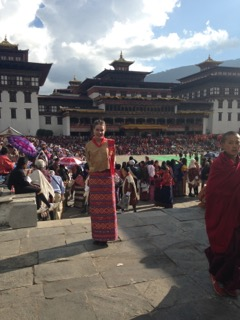 Sommer Harris at a Tsichu (festival) in Bhutan