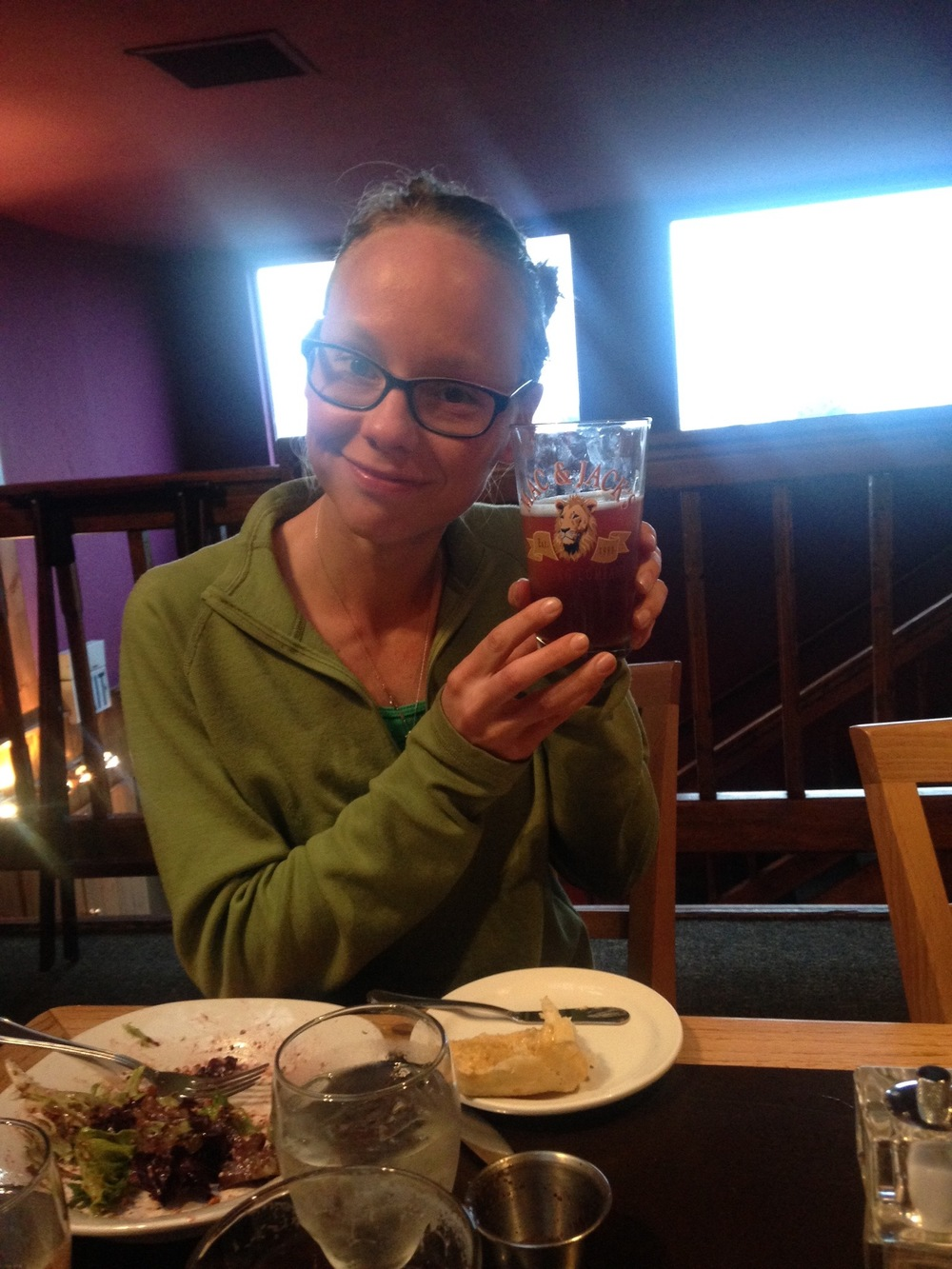 Heather, enjoying a local craft brew at kokopelli grill in port angeles, wa