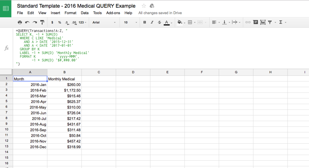 Monthly Medical Expenses Google Sheets QUERY