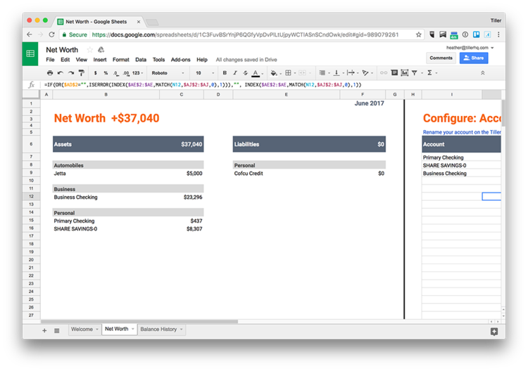 click to check out an offline version of our net worth spreadsheet template