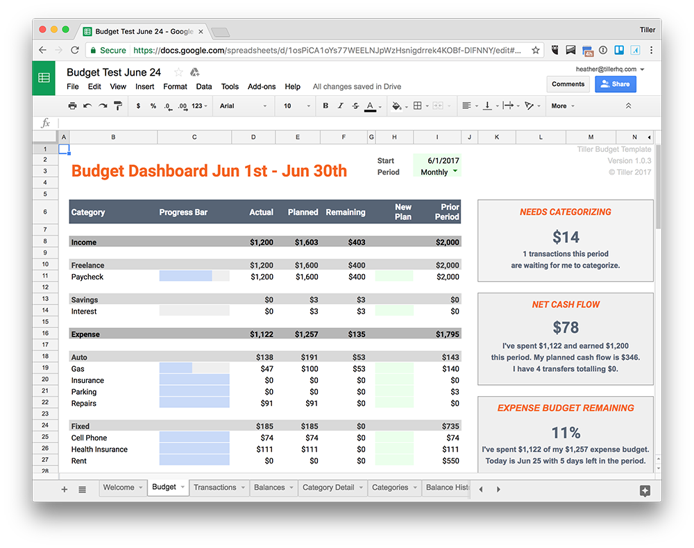 Set up a custom budget time period, categories and track your budget the way you want with the Tiller Budget spreadsheet template.