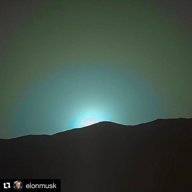 """Taken a few days ago by Curiosity Mars sky is the opposite of Earth Blue sunrise and sunset Red during the day"" @elonmusk  #mars #space #sunset #sunrise #blue #planet #solarsystem #ecosystem #planets #elonmusk"